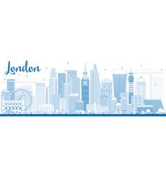 Outline london skyline with blue buildings vector