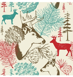 Retro Forest Deer Pattern vector image