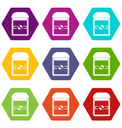 ring in a velvet box icon set color hexahedron vector image
