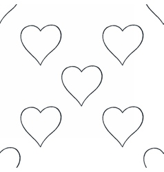 Seamless pattern with outline heart sign vector