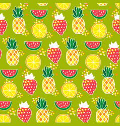 Seamless pattern with pineapples strawberries vector