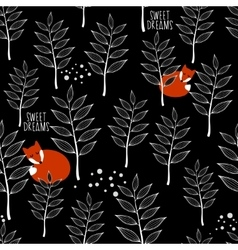 Seamless pattern with sleeping fox and winter vector image vector image