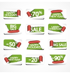Set of Christmas Paper Stickers for Stock Sales vector image