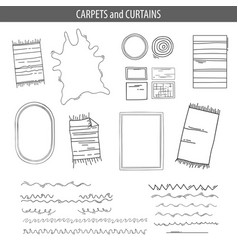 set of linear icons for interior top view plans vector image vector image