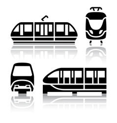 Set of transport icons - monorail and tram vector