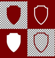 Shield sign bordo and white vector