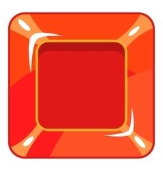 Square red button icon cartoon style vector