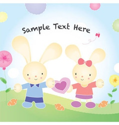 valentines rabbit cartoon vector image vector image