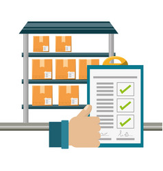 Warehouse checklist and thumb up vector