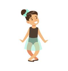 Little girl in blue tutu dancing ballet in classic vector