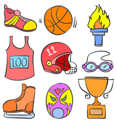 doodle of sport equipment theme collection vector image