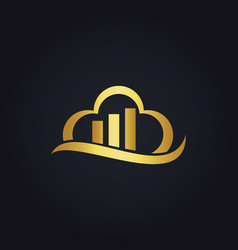 Cloud business data gold logo vector