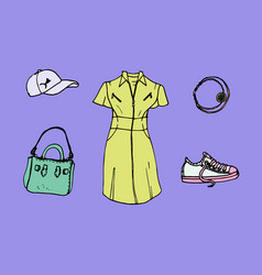 Drawing of look book trendy collection of summer vector
