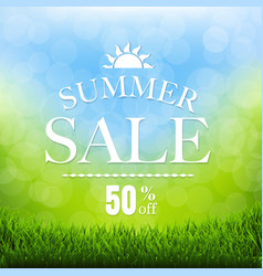 Summer sale poster with grass border vector