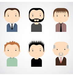 Set of colorful male faces icons vector
