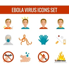 Ebola virus icons flat vector