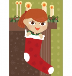 Girl in stocking vector