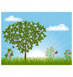 Nature landscape with a tree vector