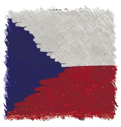 Flag of czech handmade square shape vector