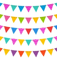 Group hanging bunting party flags vector