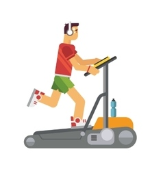 Athlete running on a treadmill vector