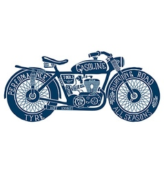 Vintage motorcycle hand drawn silhouette vector