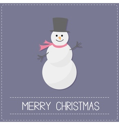 Cartoon snowmanwith hat and scarf violet vector