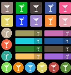 Cocktail martini alcohol drink icon sign set from vector