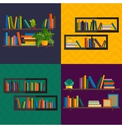 Bookshelfon wall with books in vector