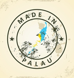Stamp with map flag of palau vector