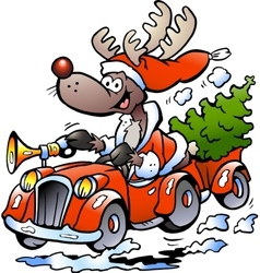 Hand-drawn of an reindeer driving car vector
