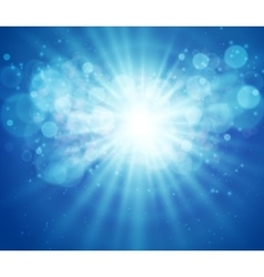Blue sky and sun Realistic Blur Design With Burst vector image