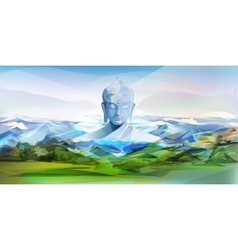 Buddha and mountains landscape vector
