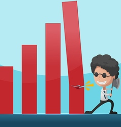 Business Man Overthrow Red Graph vector image vector image