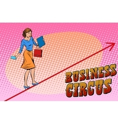 Businesswoman acrobat business circus vector