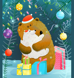christmas or new year bear and cub greeting card vector image