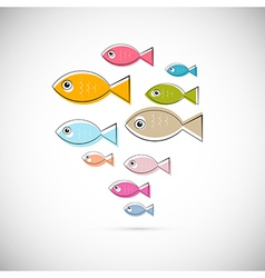 Colorful Abstract Fish Isolated on Light Gre vector image vector image