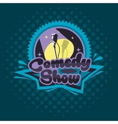 Comedy Show Concept Emblem Template Microphone vector image
