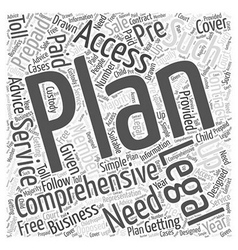 Comprehensive access plan Word Cloud Concept vector image vector image