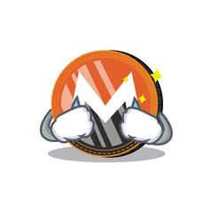Crying monero coin character cartoon vector
