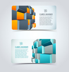 cubes horizontal banners vector image