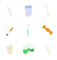 Dental treatment icons set cartoon style vector