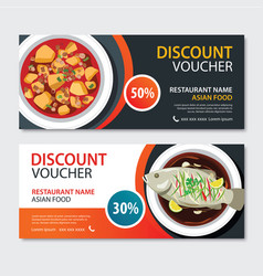 Discount voucher asian food template design vector