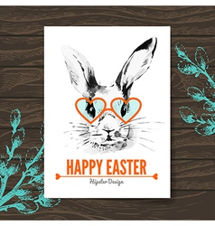 Easter card hipster sketch watercolor vector