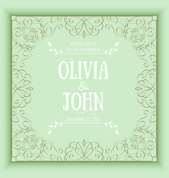 floral and geometric monogram frame on green vector image vector image