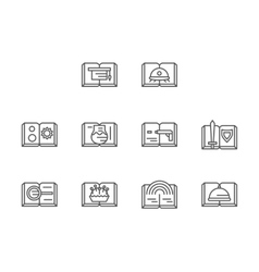Genres of stories black line icons set vector