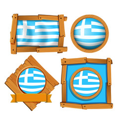 Greece flag in different frames vector