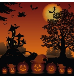 Halloween landscape with pumpkins jack-o-lantern vector