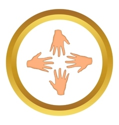 Hands of four people icon vector