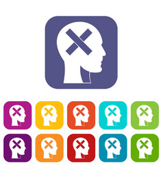 Human head with cross inside icons set flat vector